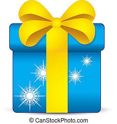 blu, scatola regalo, con, fiocchi neve, e, nastro giallo,...
