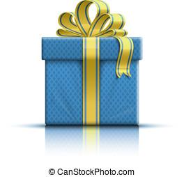 blu, scatola regalo, con, nastro giallo, e, arco