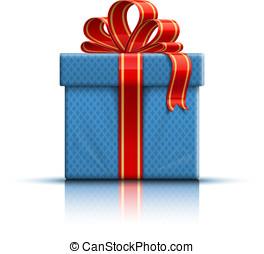 blu, scatola regalo, con, uno, arco