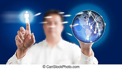 blu, schermo, moderno, urgente, fondo, tocco, tecnologia, uomo