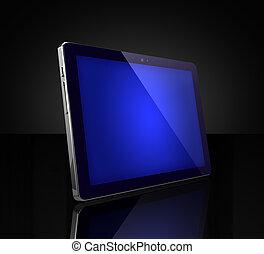 blu, schermo tocco, tavoletta digitale, su, nero