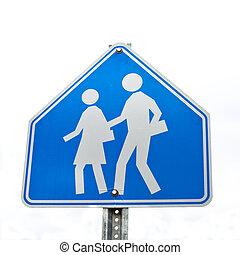 blu, scuola, isolato, segno, bianco, strada