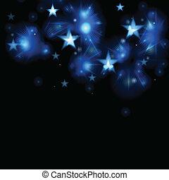 blu, scuro, ardendo, stelle, illustrazione