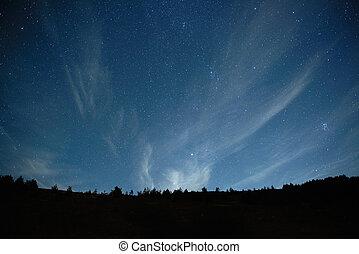 blu, scuro, cielo notte, con, stars.