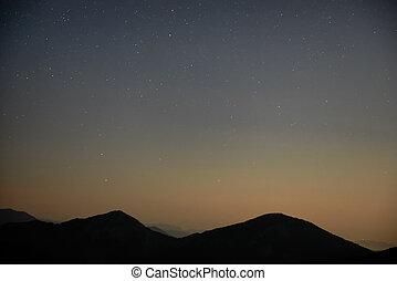 blu, scuro, cielo notte, con, stelle