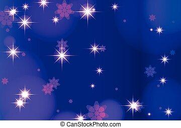 blu scuro, fondo, con, culmini, e, stars., vettore