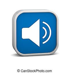 blu scuro, permettere, audio, segno