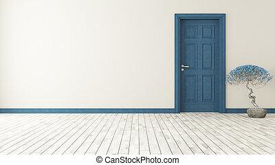 blu scuro, porta, parete
