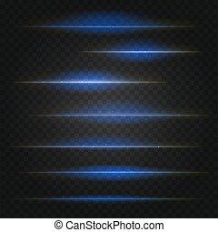 blu, scuro, set, reale, chiarori obiettivo, vettore, fondo, trasparente