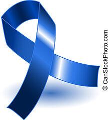 blu, scuro, uggia, nastro, consapevolezza