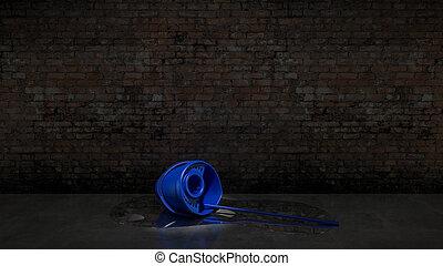 blu, secchio, con, pulizia, mocio