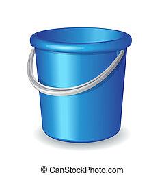 blu, secchio, isolato, plastica, fondo, bianco