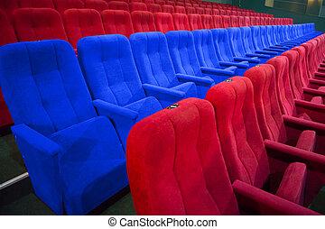 blu, sedie, fila