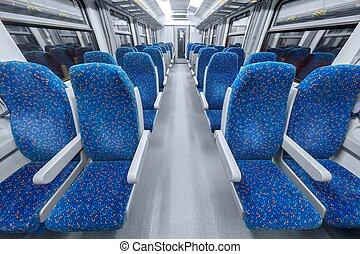 blu, sedie, interno, treno, vuoto