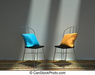 blu, sedie, metallo, due, giallo, cuscini