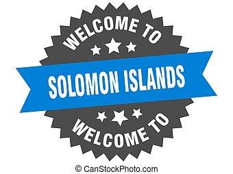 blu, segno., adesivo, isole, benvenuto, solomon