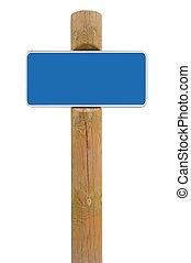 blu, segno metallo, asse, signage, spazio copia, fondo, bianco, cornice