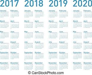 blu, semplice, format., anni, 2017, vettore, 2019, 2020, ...