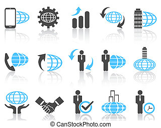 blu, serie, affari globali, icone