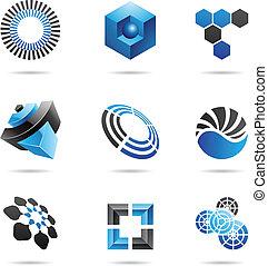 blu, set, astratto, icone, vario, 4