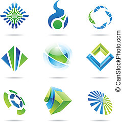 blu, set, astratto, icone, vario, 6, verde