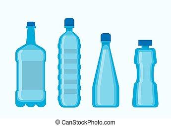 blu, set, bottiglie, isolato, plastica, acqua, bianco