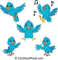 blu, set, cartone animato, collezione, uccello