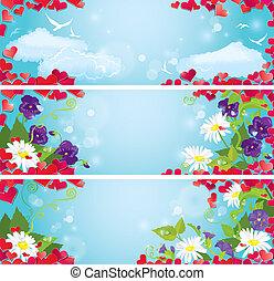 blu, set, cielo, giorno fidanzato, fondo., coriandoli, selvatico, cuori, bandiere, fiori, orizzontale, rosso