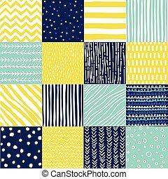 blu, set, colorare, scarabocchiare, seamless, giallo, mano, modello, disegnato, style.