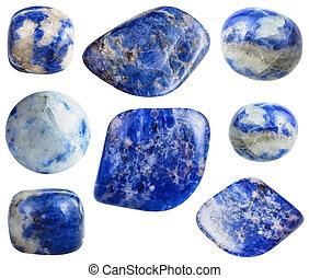 blu, set, gemstones, isolato, sodalite, bianco