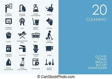 blu, set, icone, biblioteca, pulizia, criceto