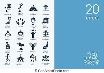 blu, set, icone, circo, biblioteca, criceto