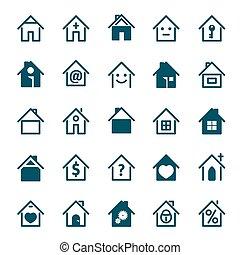 blu, set, illustration., casa, vettore, icon.
