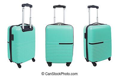 blu, set, luce, isolato, fondo., valigia, bianco