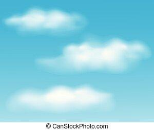 blu, set, nubi, cielo, realistico, bianco