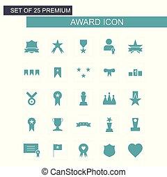 blu, set, premio, icone
