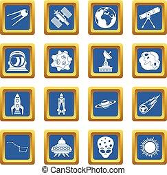 blu, set, spazio, icone