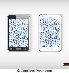 blu, set, telefono, mobile, due, realistico, fondo, floreale
