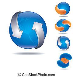 blu, sfera, icona