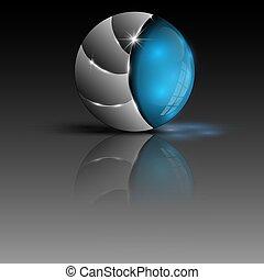 blu, sfera, illustrazione, colorito, logotipo