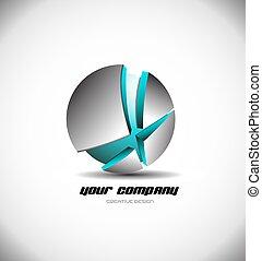 blu, sfera, metallico, rotto, logotipo, 3d, icona