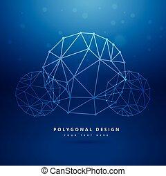 blu, sfera, polygonal, maglia