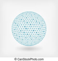 blu, sfera, rete