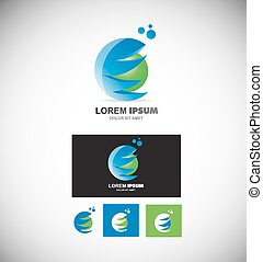 blu, sfera, verde, logotipo, 3d
