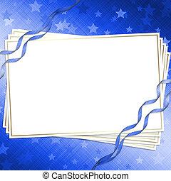 blu, sfondo scuro, invito, nastri, scheda