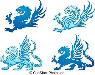 blu, silhouette, potente, drago