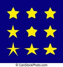 blu, simboli, set, icone, cielo, giallo, sfondo scuro, vettore, disegno, notte, stelle, template., elementi