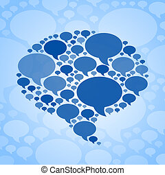 blu, simbolo, bolla, fondo, chiacchierata