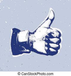 blu, simbolo, like/thumbs, su, fondo