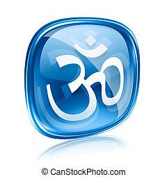 blu, simbolo om, isolato, fondo., vetro, bianco, icona
